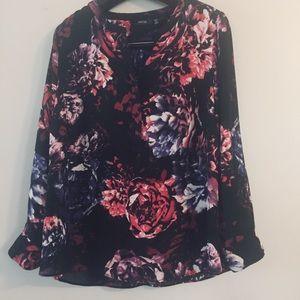 Apt 9 floral 1/2 Zip blouse. Size 0X